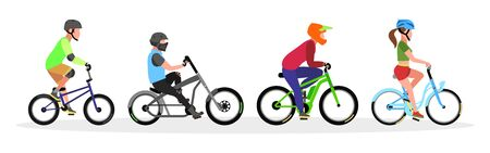 Three guys and girl in helmets riding freestyle trick, city cruiser, mountain, touring bicycles. Urban transport, bikes set. Healthy, sport lifestyle concept. Vector collection isolated on white. Illustration