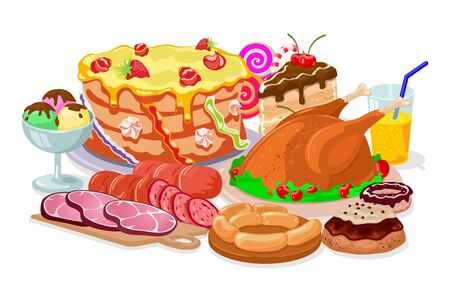 Traditional family Thanksgiving dinner with fried turkey, sausages, ham, cakes, donut, ice cream, juice, candies. Festive table with roasted chicken, sweet pastries, drink. Cartoon vector on white.