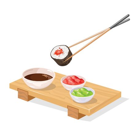 Chopsticks holding tekkamaki sushi roll under wooden japanese geta tray served with pickled ginger, wasabi and soy sauce. Vector realistic illustration isolated on white background.