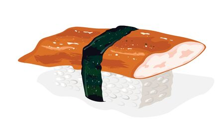 Fresh unagi sushi. Japanese food. Boiled rice topped with sliced eel and wrapped around with strip of nori seaweed. Vector realistic illustration on white for menu of take away bar or restaurant.