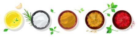Vector realistic set with spices, rubs for vegetarian, meet, fish dishes garnished greenery. Condiments are in small bowls mustard, salt, chicken curry, saffron, red paprika, onion. Top view.
