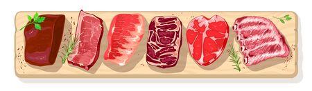 Différents types de viande avec de la verdure sur du bœuf, du pog, du mouton, de l'agneau, du veau. Assortiment de steaks pour barbecue, boucherie, marché fermier, charcuterie. Illustration réaliste de vecteur.