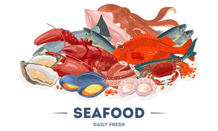 Assortment, big variety of fresh seafood in fish market, supermarket. Fishing industry. Marine animals, octopus, shellfish, mussel, scallop, lobster, squid, salmon vector illustration for poster menu