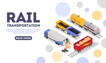 Rail transportation landing page template. Delivery by minecarts, rail-truck, mine trolley, container of train, wagons, railway vehicles, railcars concept for web. Vector isometric. Place for text.