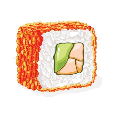 Czerwona bułka sushi masago gotowana z ikry gromadnika, awokado, czerwonej ryby i gotowanego ryżu. Tradycyjna kuchnia japońska. Realistyczne ilustracja wektorowa na białym tle na przepisy kulinarne, menu, książki kucharskie. Ilustracje wektorowe