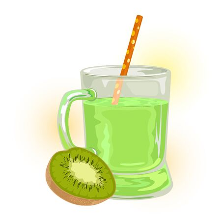 Half of ripe kiwi is near transparent mug with green appetizing juice. Source of vitamins and antioxidants. Exotic fruit and delicious beverage in glassware. Vector illustration isolated on white.