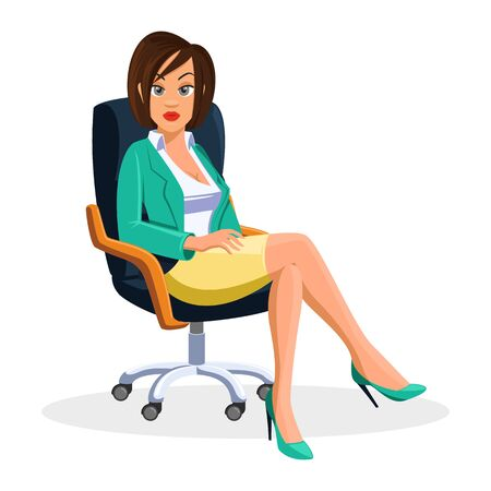 Short brown haired young businesswoman in green blazer, high heel and yellow skirt sitting at rolling office chair with crossed legs. Stylish slim girl is at work. Vector cartoon illustration on white Çizim