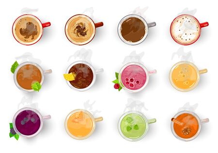Big vector set with different types of hot beverages green, black, fruity, herbal, berry tea, coffee, cocoa, americano, cappuccino, espresso, latte, mochaccino Cartoon collection on white Top view Illustration