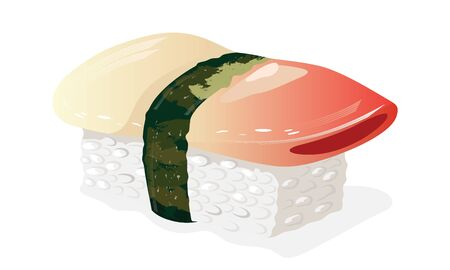 Hokkigai sushi. Boiled rice topped with piece of shellfish and wrapped around with strip of nori seaweed. Asian seafood, snack. Vector realistic illustration isolated on white background.