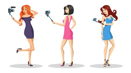 Young beautiful girls with long hair standing and recording fashion vlog, live tutorial video, webinar on smartphone. Vlogging, blogging, social media concept. Vector cartoon isolated on white. Çizim
