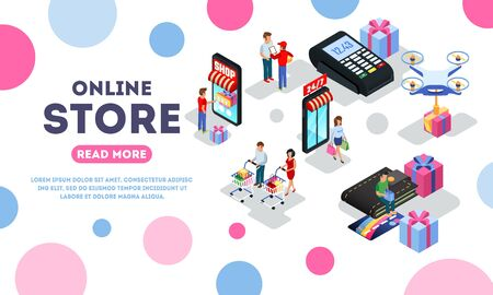 Online store, e-shop, e-commerce landing page template with shoppers, buyers, POS machine, smartphone for payment, bank card, courier, quadrocopter. Isometric vector illustration isolated on white.