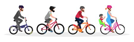 Businessman, guys, woman with child in helmets riding different types and color of bicycles folding, BMX, cruiser, road with baby seat. Vector cartoon set isolated on white background.