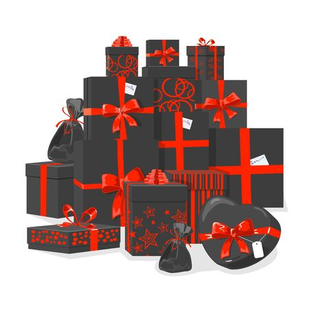 Holiday packaging of various shapes and sizes, cardboard boxes, bags, presents with red stars, circles, lines prints tied with ribbons. Black friday, sales, Christmas, 8 march, birthday vector design.