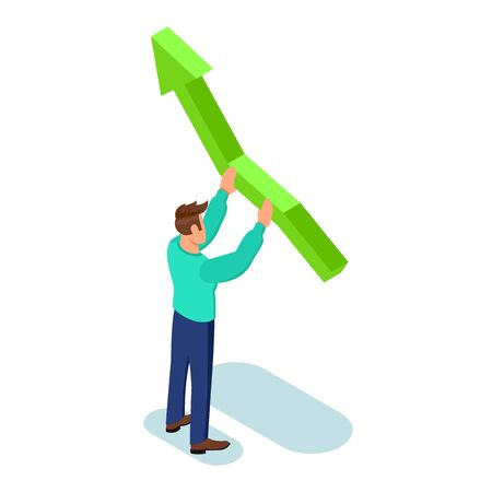 Brown haired man in green sweater and blue trousers standing and directing up big arrow. Financial, sales growth, coaching, investment, successful management isometric concept for web, mobile app.