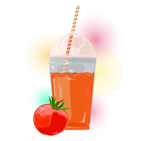 Red ripe tomato with leaves is near glass of juice. Fresh vegetable and beverage in transparent cup with straw. Natural healthy product. Vector illustration in watercolor style for packing, menu.