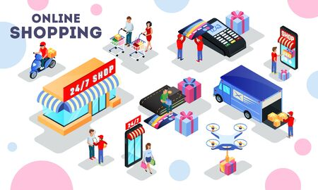 Commerce, merchandise process highlights selling, distribution, transportation, delivery, shopping, payment. Online business, e-shop concept Isometric vector illustration isolated on white