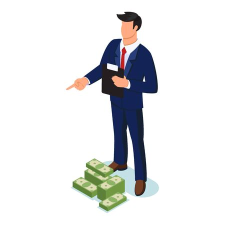 Confident faceless man in formal suit standing with clipboard near piles of banknotes and pointing finger to something, giving order. Deposit, salaries, credit, pawnshop concept. Vector isometric. Çizim