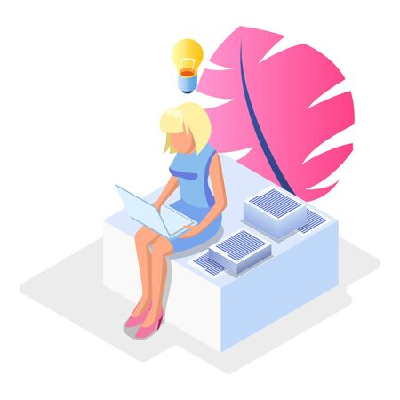 Blond faceless woman sitting with laptop among papers, documents and solving problems, deciding issues, preparing report. Brainwork, workaholism, deadline concept. Vector isometric illustration. Çizim