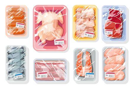 Gran vector con carne, aves, mariscos en bandejas de plástico cubiertas con película de polietileno de cocina saran. Envasado al vacío para almacenamiento, transporte de pollo, cangrejo, filete de ternera, embutidos.