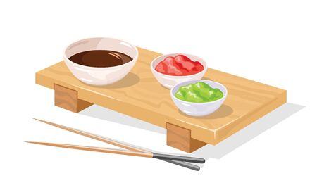 Wooden sushi geta tray served with pickled ginger, wasabi, soy sauce in bowls and chopsticks awaiting order. Japanese restaurant, bar, culture. Vector realistic illustration isolated on white.