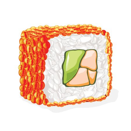 Red masago sushi roll cooked from capelin roe, avocado, red fish and boiled rice. Traditional japanese cuisine. Vector realistic illustration isolated on white background for recipes, menu, cookbooks. Çizim