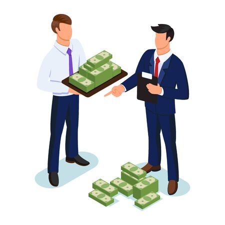 Businessman keeping tray with lots of money in front of another man who directing, controlling. Cash payment, venture capital investments, financial flows management concept. Vector isometric.