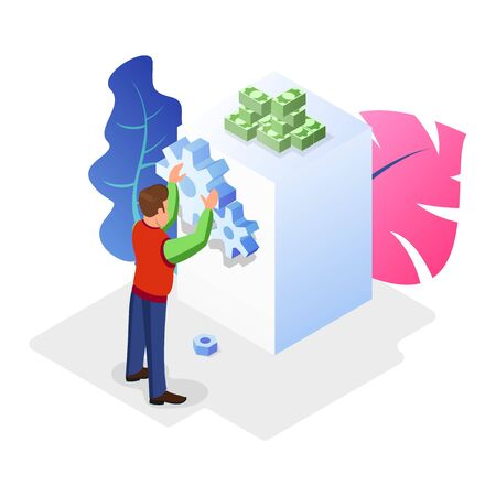 Businessman, boss, chief, owner, CEO making decisions, developing strategy, leading company to profit, success work. Getting investment, credit, loan for development concept Isometric vector Çizim