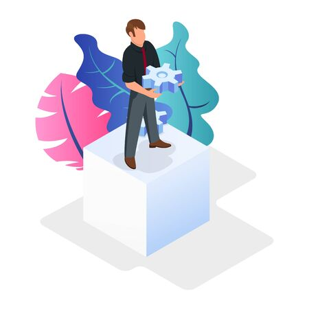 Brown haired confident businessman standing on white cube, holding gear wheel next to multicolor plants. Development strategy searching, decision making, responsibility, difficulties isometric concept