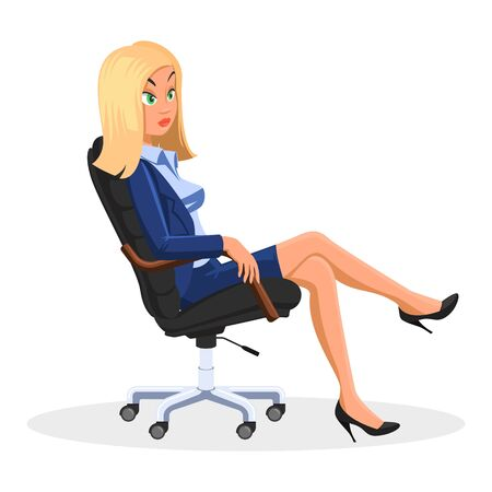Blond businesswoman in blue formal suit sitting with crossed legs at rolling office chair and looking to something. Employee, secretary, manager is at work. Side view. Vector cartoon illustration.