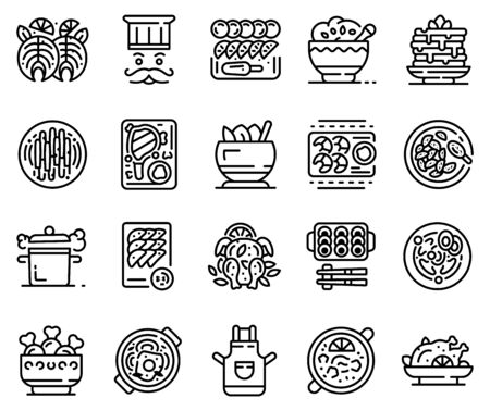 Big set of kitchen equipment, chef supplies thin line icons isolated on white.