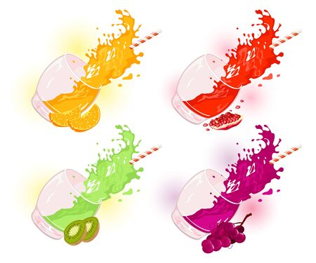 Vector set with falling glass cups, yellow, red, green, purple splashes of juices or cocktails and fruits, berries orange, pomegranate, kiwi, grape. Collection on background in watercolour style.