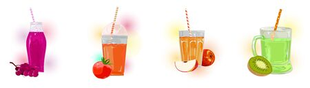 Big set with ripe fruits, berries, vegetable and delicious juices in transparent glassware with straws. Beverages are in line purple grapes, red tomato, orange apple, green kiwi. Vector collection. Çizim