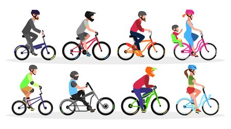 Big set with different types and colors of bicycles with cyclists in helmets folding, bmx, cruiser, road, freestyle trick, city, urban, mountain, touring. Vector collection isolated on white.