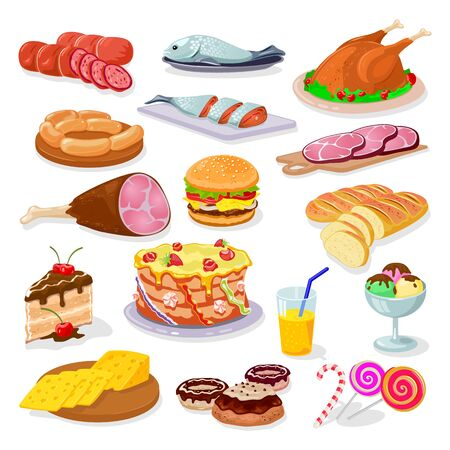 Big vector set with festive food chicken, cheese, salami, ham, fish. hamburger, bread, cake, donuts, candies, juice, ice cream. Cooked dishes for Christmas or New year celebration Cartoon
