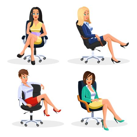 Big vector set with young beautiful businesswomen sitting at rolling office armchairs in different poses. Çizim