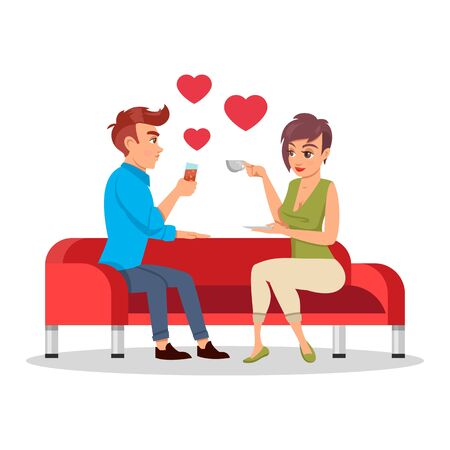 Romantic couple sitting on sofa with drinks at romantic date. Loving young man and girl spending time together at home. Valentine s day concept. Vector cartoon illustration isolated on white.