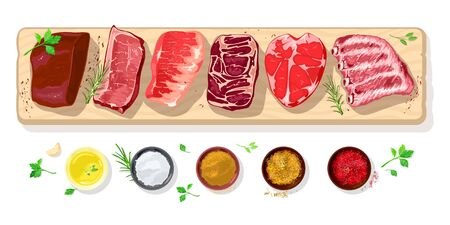Fresh raw steaks, fillets for barbecue, grilling, roasting, frying beef, pog, mutton, lamb, veal. Spice rubs, condiments mustard, salt, chicken curry saffron red paprika greenery for meat Vector 矢量图像