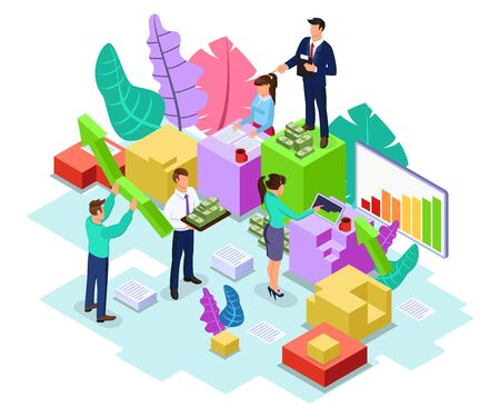 Working process of team in company. Faceless men and women doing paperwork, analysing information, managing of cash flows, investing money. Vector isometric illustration isolated on white background.