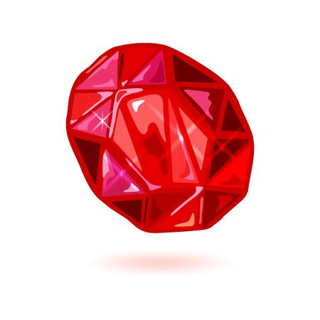 Sparkling natural oval cut ruby. Blood-red colored polished mineral, gemstone for using in jewelry ring, earrings, brooch, pendant, bracelet. Vector realistic illustration isolated on white. Çizim