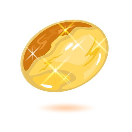 Sparkling oval shape citrine or yellow topaz. Beautiful mineral, gemstone vector illustration isolated on white background for banner, poster, flyer, catalogue of jewelry, bijouterie, fashion website. Çizim