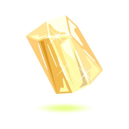 Sparkling transparent topaz. Polished yellow mineral, gemstone vector illustration isolated on white background for jewellery projects. Can be used like mascot, amulet, talisman, periapt.