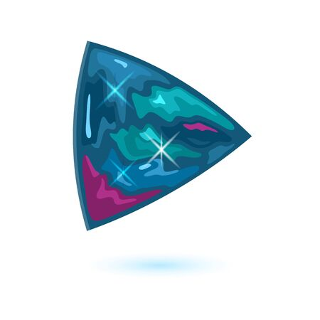 Amazing triangle shape alexandrite. Natural mineral, gemstone vector illustration isolated on white background for banner, poster, flyer, catalogue of jewelry, bijouterie, fashion websites, stores. Çizim