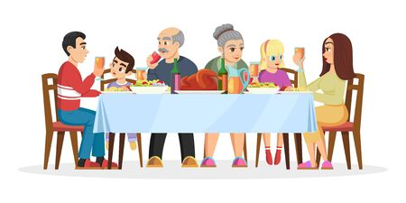 Big happy united family celebrating Christmas, Thanksgiving day or birthday at home. Continuity of generations is at same table. Relatives. Vector cartoon illustration isolated on white background. Çizim