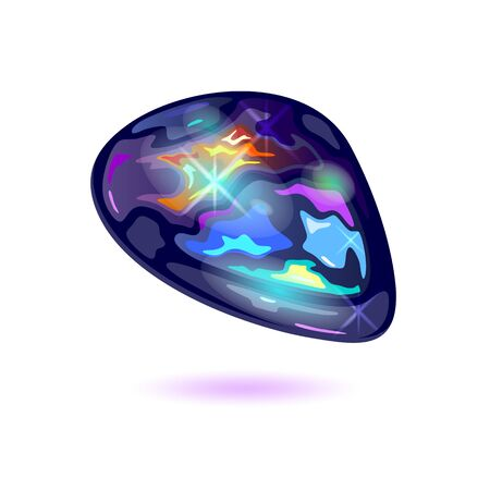 Amazing black fire opal. Iridescent mineral, precious stone, mascot vector realistic illustration isolated on white background for jewelry, bijouterie, fashion shops, stores, showcases, websites.