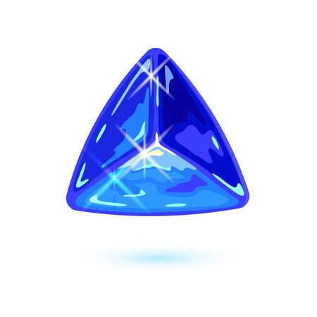 Sparkling natural triangle shape tanzanite. Specimen of blue gemstone vector illustration isolated on white background for jewelry, bijouterie, fashion shops, stores, showcases, websites. Çizim