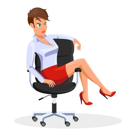 Brown haired young woman in light blue blouse, short red skirt sitting at rolling office chair with legs on armrest. Heeled girl is in informal situation. Vector cartoon illustration isolated on white