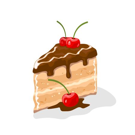 Yummy piece of layer cake, gateau coated by chocolate buttercream with cherries on top. Sweet pleasure. Pastry, dessert garnished by berries. Vector cartoon illustration isolated on white background.