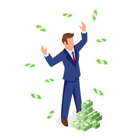 Confident faceless brown haired man in formal suit standing near piles of banknotes and enjoying wealth. Financial and sales growth, business development, getting profit, investment isometric concept. Çizim