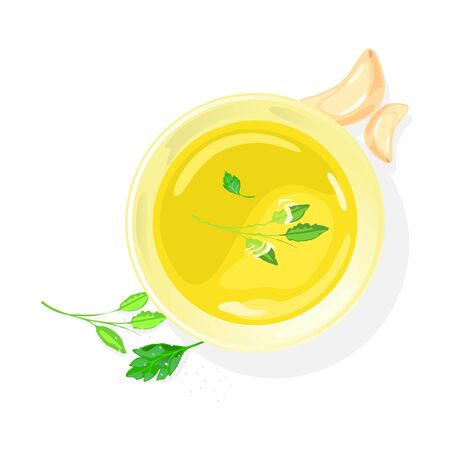 Meat, fish or vegetable vegetarian transparent broth in porcelain bowl garnished with greenery and cloves of garlic. Thin watery yellow soup without much substance. Top view. Vector isolated on white.