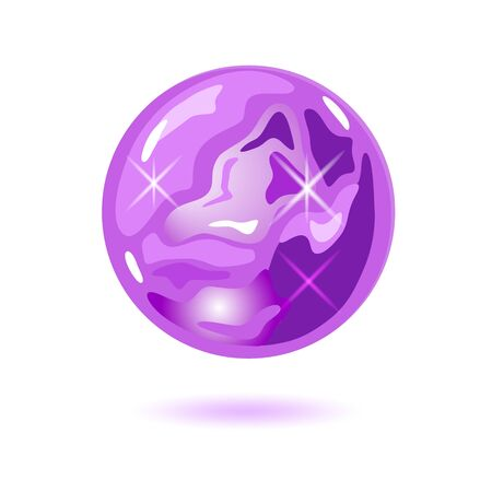 Amazing round shape amethyst. Cristal magic ball. Purple natural gemstone, precious stone vector illustration isolated on white background for gemmological, geological, mineralogical projects.